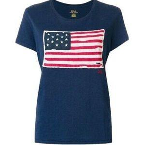 🍒 POLO RALPH LAUREN Logo Flag Embroidered T-Shirt